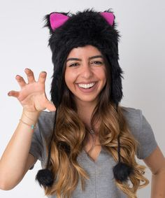 Look at this #zulilyfind! Black & Pink Kitty Ears Earflap Beanie #zulilyfinds