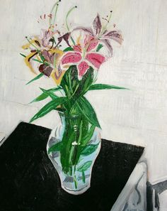 """Still Life of Flowers. Oil on Canvas. 16"""" x 20"""" Original Painting. Green. White. Black. Sale."""
