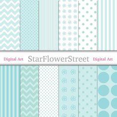 aqua blue chevron soft teal green daisy flower pattern tiffany turquoise polka dot digital scrapbook paper downloadable printable baby boy color baby invite pattern StarFlowerStreetDA on Etsy: (3.50 USD)