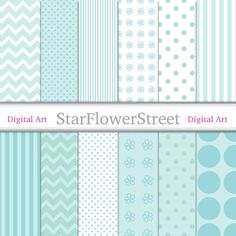 aqua blue chevron soft teal green daisy flower pattern tiffany paper pack chevron turquoise polka dot digital scrapbook paper downloadable printable StarFlowerStreetDA on Etsy: (3.50 USD)