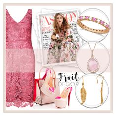 """""""Pink in the fashion"""" by aaidaa ❤ liked on Polyvore featuring Adrianna Papell, Christian Louboutin, Gabor and Allurez"""