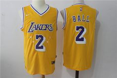 73e4e810f Nike Lakers  2 Lonzo Ball w Purple Number Stitched NBA Jersey Los Ángeles  Lakers