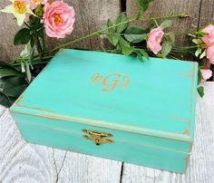 Mint And Gold Shabby Chic Small Wood Wedding Keepsake Box