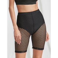 SheIn(sheinside) High Rise Fishnet Short Leggings ($6) ❤ liked on Polyvore featuring black