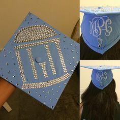 UNC-Chapel Hill Graduation Cap 2015. Cute Rhinestone Graduation Cap Seniors. Old Well Bling. Monogram Graduation Cap. Tar Heels.