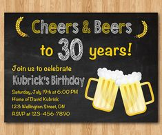 "Surprise Cheers and Beers Birthday Invitation. Beer Birthday for men. Chalkboard Black and White Background. For further customization, please click the ""Customize it"" button and use our design tool to modify this template. Birthday Cheers, Adult Birthday Party, 30th Birthday Parties, 60th Birthday, Surprise Birthday, 60 Birthday Party Ideas, 40th Birthday Ideas For Men Husband, Backyard Birthday, Thirty Birthday"