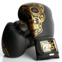 Trophy Getters® Gold Skull Commercial Boxing Gloves   Punch Equipment® Gold Boxing Gloves, Boxing Boots, Boxing Wraps, Cowhide Leather, Black Leather, Fight Gym, Metal On Metal, Bare Knuckle, Gold Skull
