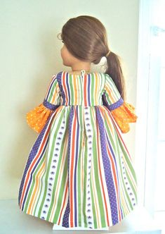 Felicity's Halloween Carnival Colonial by BackInTimeCreations Halloween Carnival, Halloween Party, Halloween Costumes, Ag Dolls, Girl Dolls, Party Gowns, Cotton Lace, Green Stripes, Colonial
