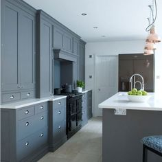 Classic beauty - Grey Cabinets with Chrome Handles