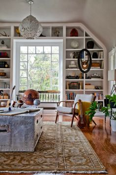 Bookshelves around window...yes!