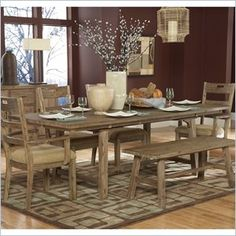 "Homelegance Oxenbury Dining Table in Weathered Driftwood -The Oxenbury Collections weathered driftwood finish brings your dining room the casual elegance of natures beauty. Natural distressing on acacia veneers compliments this unadorned dining group. Wood bench seating blends with chairs that feature light tweed fabric. The weathered bronze finished hardware on the matching server accents the natural look to perfection.  Features: Weathered Driftwood Finish Part of the Homelegance Oxenbury collection  Specifications: Overall product dimensions: 40""D x 76-94""W x 29""H"