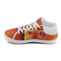 Hibiscus by Martina Webster Women's Chukka Canvas Shoes (Model 003).Orange colored women's shoe in…