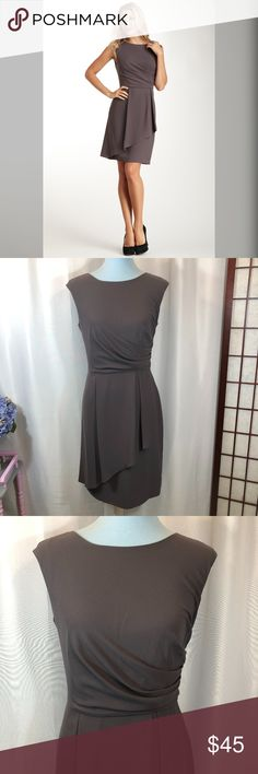 """Vince Camuto Side Draped Ruched Faux Wrap Dress, 6 NOTE: The color is called """"Smoked Pearl"""". It is a taupe color (brownish-gray).  Brand: Vince Camuto Size: 6 Material: 100% Polyester (Lining - 97% Polyester, 3% Spandex) Condition: Pre-owned in good condition with no rips, stains, or tears    Approx. Measurements  Bust: 34"""" Waist: 29""""  Length: 37"""" Vince Camuto Dresses"""