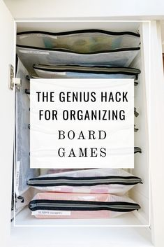 Learn how to organize your board games in a way that is simple, space-saving, and effective. Use zip pouches to file your games for easy accessibility. Board Game Organization, Board Game Storage, Puzzle Storage, Small Space Organization, Home Organization Hacks, Organizing Your Home, Closet Organization, Lego Storage, Organising