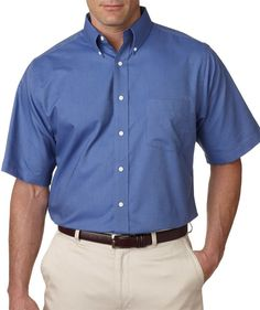 ultraclub men's tall classic wrinkle-free short-sleeve oxford - french blue (xlt)
