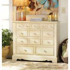 Distressed Cream 5-Drawer Chest at Kirkland's #kirklands #pinitpretty