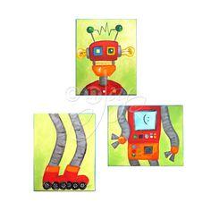 Robot art for Kids BROKEN ROBOT Set of 3 8x10 acrylic by nJoyArt, $140.00