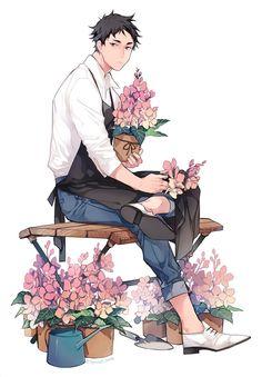Ren's part time job Bokuto Koutarou, Akaashi Keiji, Bokuaka, Manga Boy, Manga Anime, Anime Art, Haikyuu Fanart, Haikyuu Anime, Character Art