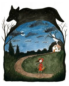 Little Red Riding Hood and Wolf Watercolor by KatkalandCreatures