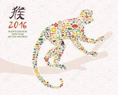 Illustration about 2016 Happy Chinese New Year of the Monkey with China cultural element icons making ape silhouette composition. Illustration of calendar, modern, festive - 60219937 Happy Chinese New Year, Chinese New Year Monkey, Year Of The Monkey, Monkey Icon, Monkey Illustration, Red Packet, Love Crochet, Holiday Photos, Chinese Art