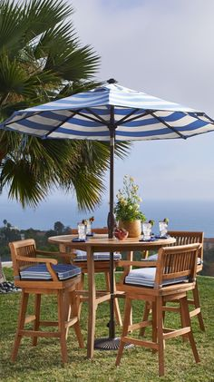Our Cassara Bar-height Seating is handcrafted from plantation-grown teak for a lifetime of use.