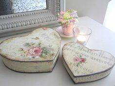 These vintage heart shaped boxes would be a great Valentine's Day present. All you need is two of our plain wooden heart shaped boxes and 'English Rose' decoupage paper. Fill it with sweets or even better, leave it empty for jewellery! More Valentine's Day craft and DIY ideas from http://www.craftmill.co.uk