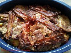 Xsara, próbálkozásaim a konyhában: Rácos hús, apukám kedvence Bacon, Meat, Food, Red Peppers, Essen, Meals, Yemek, Pork Belly, Eten