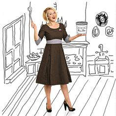 Maggie Brown brownwhite cotton Polkadot dress new door HouseofDots, €59.99