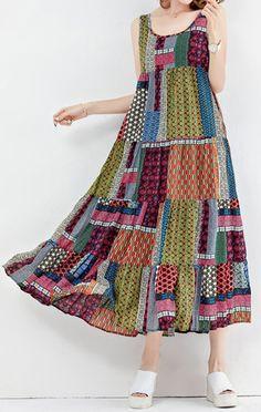 US$25.20 Gracila Bohemian Patchwork Sleeveless O-Neck Long Maxi Dresses