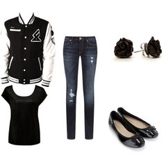"""""""Cute Varsity jacket outfit"""" by degrees18 on Polyvore"""