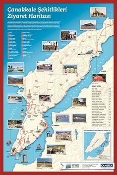 Çanakkale Ziyaret Haritası Gallipoli Campaign, Turkish Army, Turkish People, World Travel Guide, World War One, Ottoman Empire, Historical Maps, World History, Geography