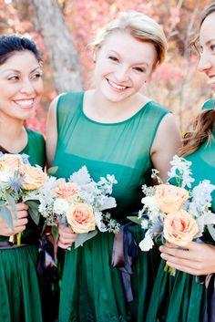 Bridesmaids in emerald green Photography By / http://darcybenincosa.com,Event Design By / http://sorella-sorella.com