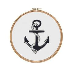 Anchor Cross Stitch Pattern, Suitable for Hoop or Frame, Instant Download Counted Cross Stitch Chart, Nautical Pattern, PDF Digital Download