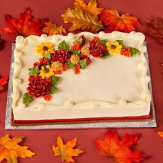 Autumn Sheet Cakes <b>fall cakes</b> Fall Theme Cakes, Fall Birthday Cakes, Birthday Sheet Cakes, Fall Cakes, Themed Cakes, Cake Decorating Designs, Creative Cake Decorating, Birthday Cake Decorating, Cake Decorating Techniques