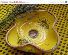 ON SALE Lavender Yellow Provence Dish  Hand by SophieLadyDeParis, $61.20