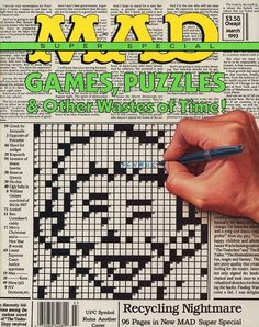 Mad Special 86 - Games - Puzzles - Wastes Of Time - Human Hand - Newspaper Magazine Cover Layout, Magazine Covers, Comic Book Covers, Comic Books, American Humor, Ugly Baby, Mad Magazine, Mad World, Crossword Puzzles