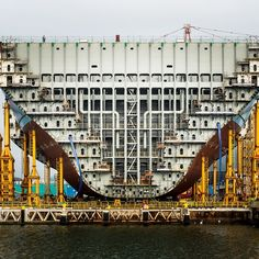 Okpo, a port in South Korea, is home to Daewoo Shipbuilding and Marine Engineering, a company constructing the world's largest model of ship -- 12 at a time Biggest Cruise Ship, Tanker Ship, Freight Transport, Marine Engineering, Ocean Cruise, Viking Ship, Aircraft Carrier, Boat Building, Sailing Ships