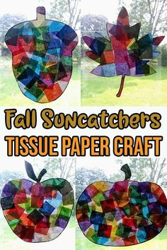 Fall Tissue Paper Suncatchers Craft Easy Fall Crafts, Thanksgiving Crafts For Kids, Spring Crafts For Kids, Crafts For Kids To Make, Fall Diy, Kids Diy, Craft Stick Crafts, Fun Crafts, Craft Ideas
