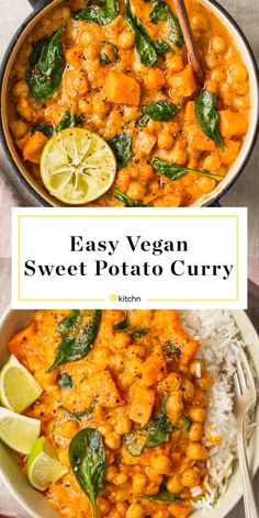 This easy vegan sweet potato curry is great for dinner or make ahead meal prep lunch. The curry itself is made with ginger red curry paste chickpeas coconut milk ground black pepper and baby spinach. This plant-based meal is hearty spicy and satisfying. Vegan Dinner Recipes, Veggie Recipes, Whole Food Recipes, Cooking Recipes, Healthy Recipes, Vegan Sweet Potato Recipes, Sweet Potato Meals, Healthy Food Substitutes, Easy Plant Based Recipes