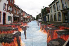 Lava flow by 3D sidewalk artist, Edgar Mueller