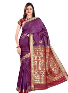 Buy Art Silk Purple Saree online from the wide collection of Saree. This Purple colored Saree in Art Silk fabric goes well with any occasion. Shop online Designer Saree from cbazaar at the lowest price.