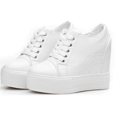 Women's Casual High Top Hidden Heel Wedges Platform Fashion Sneakers ($26) ❤ liked on Polyvore featuring shoes, sneakers, high-top sneakers, white platform sneakers, white high tops, wedges shoes and hi top wedge sneakers