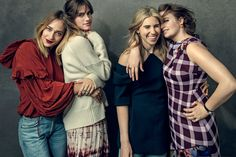 From left: Jemima Kirke in a Co blouse and Citizens of Humanity jeans; Allison Williams in a Brock Collection sweater and an Altuzarra skirt; Zosia Mamet in a Marni dress; Lena Dunham in a Christopher Kane dress.