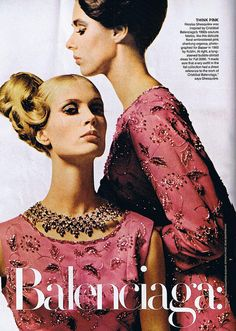 Nicolas Ghesquière was inspired by Cristóbal Balenciaga's 1960s couture fabrics, like this delicate floral-embroidered pink shantung organza, photographed for Harper's Bazaar in 1963