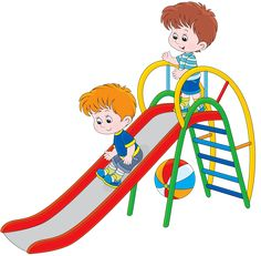 Illustration of Kids on a slide vector art, clipart and stock vectors. Kindergarten Classroom Setup, Classroom Decor, Drawing For Kids, Art For Kids, School Murals, School Clipart, Cartoon Sketches, Parks And Recreation, Kids Education