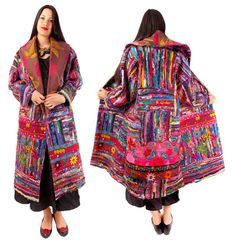 Wrap coat of collaged miked fabrics with vintage Indian and Mexican embroideries by Lauren Shanley