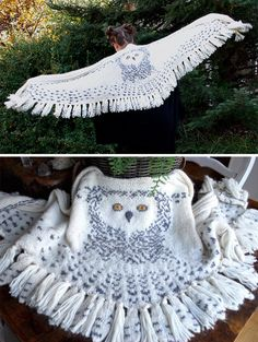 Knitting Pattern for Hedwig Owl Shawl - Wrap designed like an owl in flight with intarsia face on the back and feathered wings. Feathers and fringe alternate along the bottom edge. Designed by tiny owl knits. Worsted weight yarn.