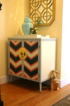 chevron painted cabinet, for my Alexanders pieces