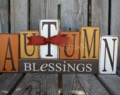 """Fall Autumn Thanksgiving """"Give Thanks"""" Stacker Wood Block Set Primitive Fall Autumn table Thanksgiving Gift Country Wood Sign. $29.95, via Etsy."""