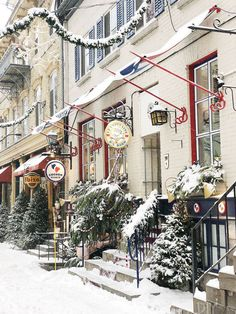 Storefronts in Quebec City We visited Quebec City in Canada at Christmas time and it was magical! Here's my Quebec City travel guide. What to pack, what to eat, what to do, and my overall experience for this amazing vacation! Quebec City Christmas, Quebec Winter, Canada Christmas, Christmas In The City, Christmas Time, Places To Travel, Places To Go, Old Quebec, Sainte Lucie